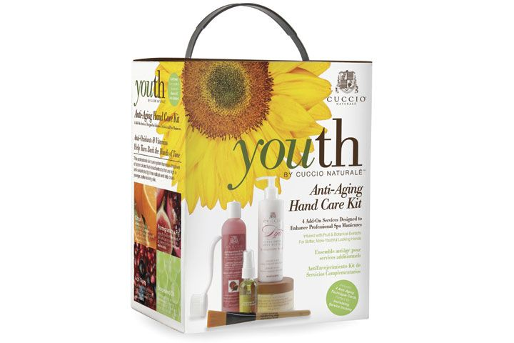 """<p><a href=""""http://cuccio.com"""">Cuccio Natural&eacute;&rsquo;s</a> Anti-Aging Youth Kit has three simple additions to your traditional manicure to make for a quick and easy transition into a brand new anti-aging themed service. Use the Pomegranate and Fig Skin Polisher to slough off dead skin cells. Accelerate moisture with the Grape Seed Hand Anti-Oxidant Oil. Then lock in moisture with the Pomegranate &amp; A&ccedil;ai Butter Lyte.</p>"""