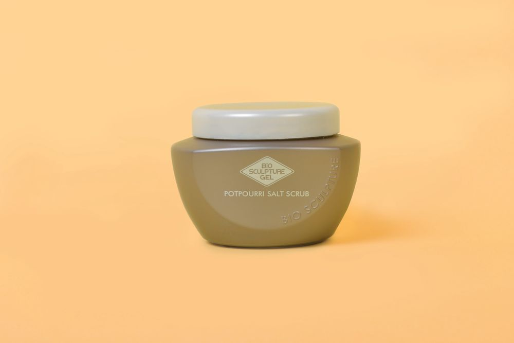 """<p>The Potpourri Salt Scrub from <a href=""""http://www.biosculpturegel.com/Products.aspx?Color_Gels"""" target=""""_blank"""">Bio Sculpture </a>has a spa fragrance for an exfoliating aromatherapy treatment. It is made with rosa centifolia flower extract mixed with dry rose petals and light &shy;botanical oil to remove dead skin cells from hands and feet. <br /><br /></p>"""