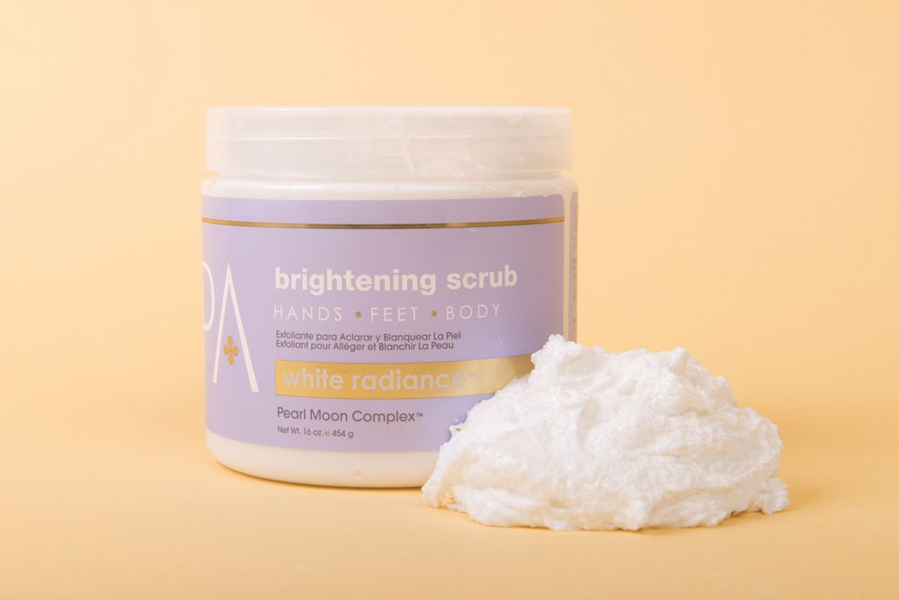 """<p>The antioxidant-rich White Radiance Scrub from <a href=""""http://www.bclspa.com/"""" target=""""_blank"""">Bio Creative Labs</a> is formulated with patented pearl moon complex infused with kojic acid, rice water, milk, ginseng, volcanic silt, and pearl to reduce the look of age spots, scars, fine lines, wrinkles, and hyper pigmentation due to age. <br /><br /></p>"""