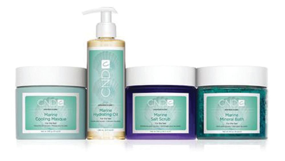 "<p>The SpaPedicure Marine Kit from CND is a foot care system inspired by the sea. Marine botanicals and sea salts energize the feet. The kit includes a marine mineral bath, mineral scrub, cooling masque, and hydrating oil. The marine mineral bath cleanses, hydrates, and provides an aromatherapeutic foot soak. The salt scrub is a blend of mineral and Dead Sea salts to mildly exfoliate the skin. The cooling masque is a mineral clay foot masque with hydrating sea extracts and botanicals, and the hydrating oil is light and naturally fragrant to provide the perfect balance of glide and grip for massages.</p> <p><a href=""http://www.cnd.com/"">www.cnd.com</a></p>"