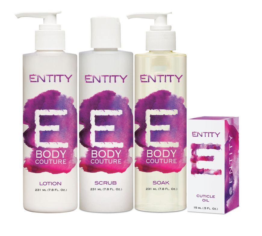 "<p>Entity&rsquo;s Body Couture was developed with the hands and feet in mind. The line offers a soak, scrub, lotion, and oil, and features a coconut oil base to provide deep moisture. Coconut oil helps strengthen underlying skin tissue and removes dead skin cells, making the skin soft and supple. Other specialty ingredients include apricot kernel oil, which leaves no oily residue and softens the appearance of fine lines; strawberry fruit extract, known for its powerful anti-aging, anti-inflammatory, anti-oxidant properties; and cucumber fruit extract, which has a soothing and astringent effect that calms the skin.</p> <p><a href=""http://www.entitybeauty.com/"">www.entitybeauty.com</a></p>"