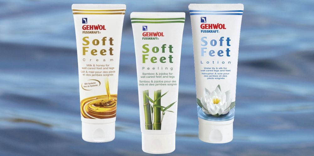 "<p>Gehwol&rsquo;s Soft Feet line features a scrub, lotion, and cream. The scrub consists of bamboo granulate and jojoba wax to activate skin circulation. Vitamin E protects the skin and prevents premature skin aging. The lotion with algae extract encourages circulation and counteracts heavy, tired legs, and the cream is made with honey extract and milk peptides. These ingredients make the skin noticeably silkier and visibly smoother.</p> <p><a href=""http://www.gehwolfootcare.com/"">www.gehwolfootcare.com</a></p>"