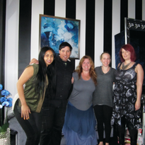 That's Wet Canvas owner Diana Sek, nail artist and Artistic Nail Design educator Ruben Eduard,...