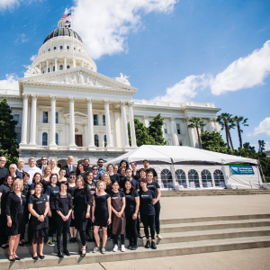 PBFC's W.O.W team assembles on the steps of the State Capitol Building.