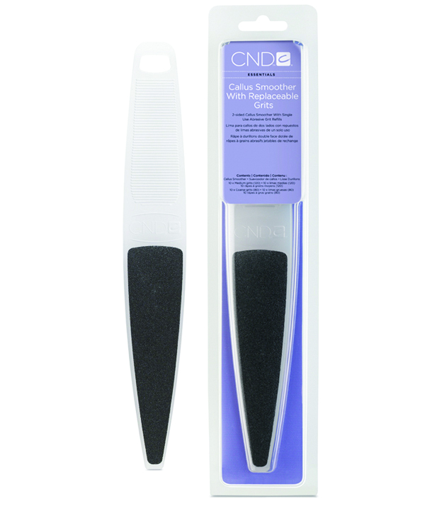 <p>CND's professional-grade Callus Smoother goes beyond the usual callus remover tools, and uses two adhesive grits (120 grit and 80 grit) to achieve impressive results. Its lightweight, ergonomic shape is easy to hold and use. Refill replacement adhesive grits are available in packs of 50. <br />www.cnd.com</p>