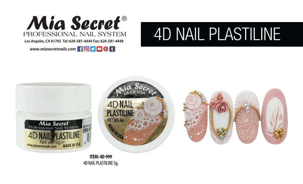 <p>Mia Secret<br />Glass gel, embellishments, 3-D art gel, stamping plates<br />www.miasecretnails.com</p>