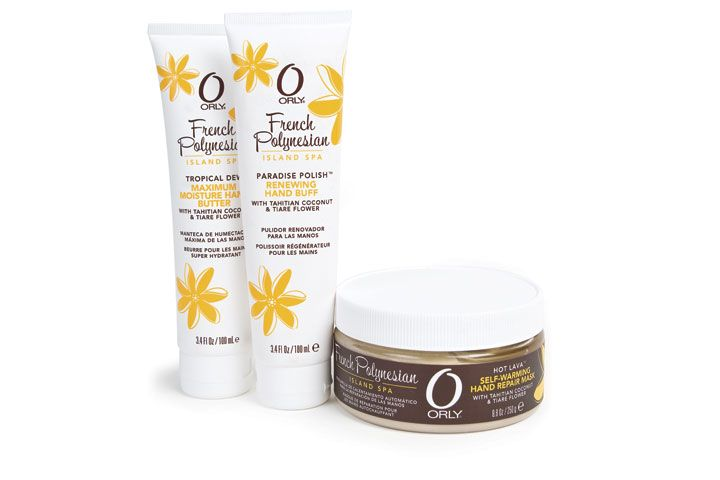 """<p><a href=""""http://www.orlybeauty.com/"""">Orly&rsquo;s</a> French Polynesian line brings the perfect blend of tropical nutrients with repairing emollients to leave hands feeling like they&rsquo;ve been on vacation. The line includes Paradise Polish, a renewing hand buff; Hot Lava, a self-warming hand repair mask; and Tropical Dew, a maximum moisture hand butter.</p>"""