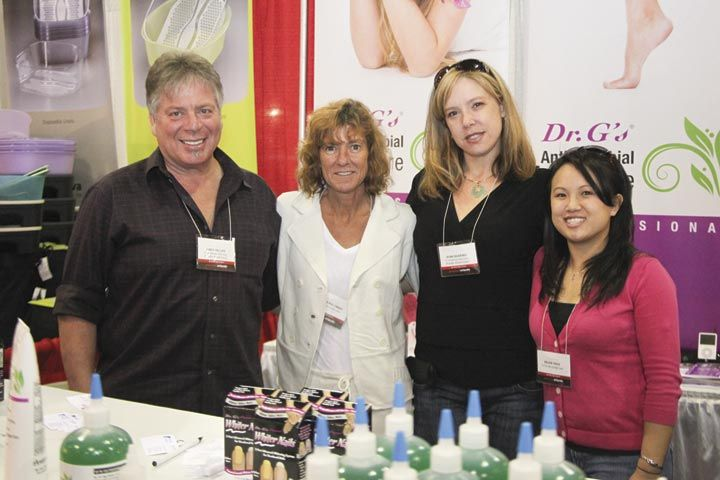<p>Andy Hillas, Bonnie Palumbo, Jean Searing, and Helen Nguyen promoted Dr. G&rsquo;s antibacterial products including the new Antimicrobial Spa Soak and Callus &amp; Cuticle Remover.</p>