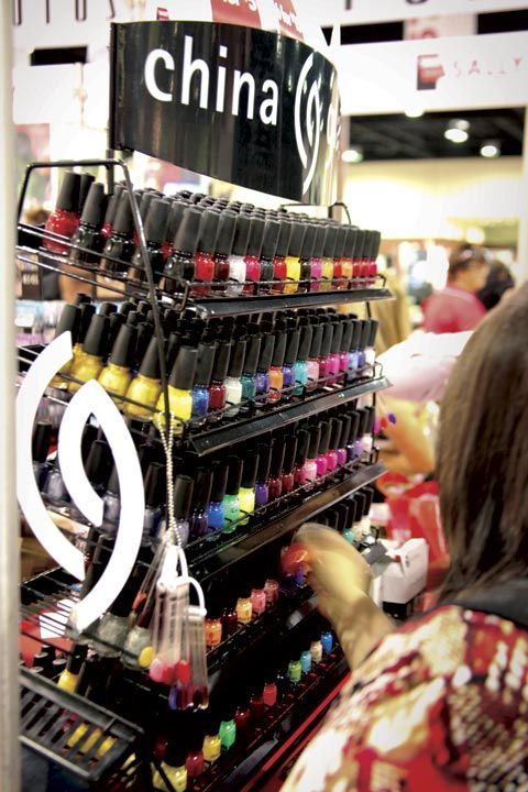 <p>Show attendees found their way to the China Glaze polish display, where bright and colorful polishes attracted attention.</p>