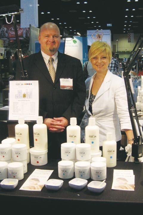 <p>Scott Haken and Mindy Biggar show off Haken Professional Cosmetics&rsquo; new product offerings.</p>