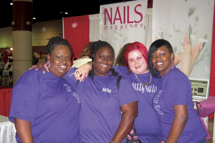 <p>Rhonda Collier, Chaneisha Warren, Angela Williams, and Chandra Shack from Jazzy Nailz in Jacksonville, Fla., came to the show together to shop and show off their salon spirit.</p>
