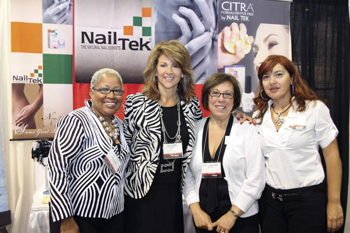 <p>Nail Tek&rsquo;s Val Clark, Judith Fairn, Mary Jo Zwirowski, and Arpi Sekeryan demonstrated the reactivating effect of the company&rsquo;s Advanced Hydrating Cr&egrave;me.</p>