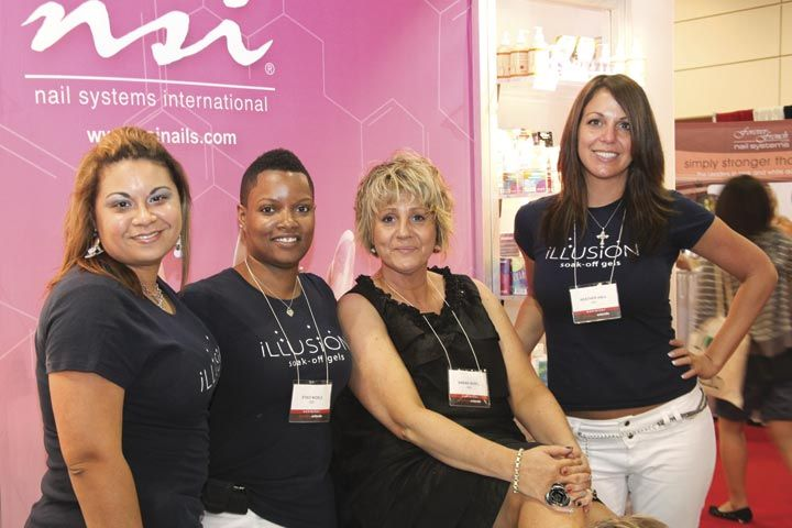 <p>NSI&rsquo;s Melissa Mercado, Staci Noble, and Heather Hall surrounded Canadian Distributor Wendy Lieshout (second from right) for a photo during her pedicure.</p>