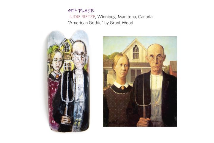 <p>4th place:</p> <p>&nbsp;Judie Rietze, Winnipeg, Manitoba, Canada</p> <p>&ldquo;American Gothic&rdquo; by Grant Wood</p>