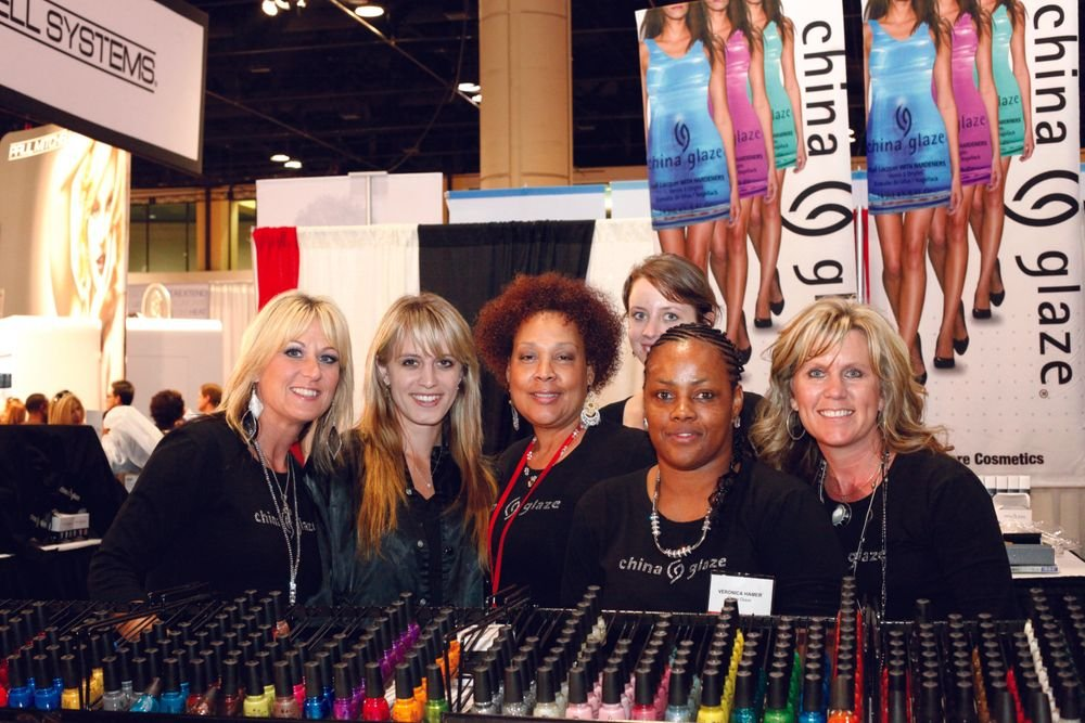 <p>Clear across the show floor, the China Glaze team of Angie Perkins, Sabine Cooper, Lynn Long, Megan Forgie, Veronica Hamer, and Tonya Odell enjoyed the company of hairdressers, nail techs, and each other.</p>