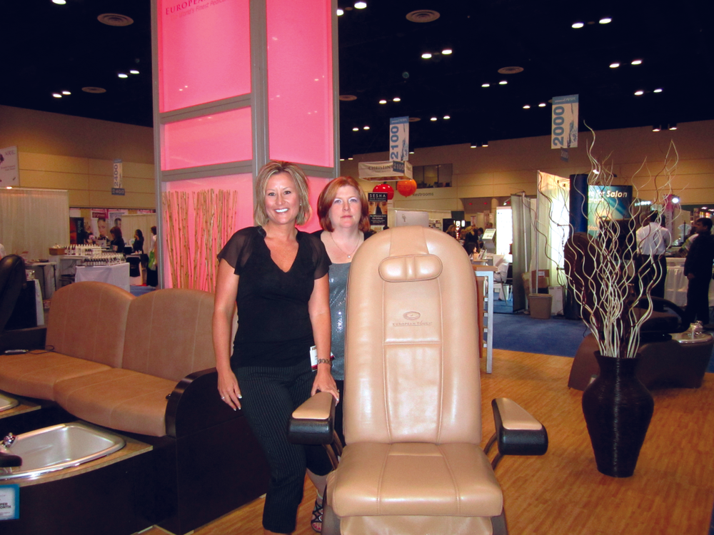 <p>We found European Touch&rsquo;s Dawn Holz and Misty Witte on the calmer spa side of the show with the company&rsquo;s Rinato Spa chair.</p>