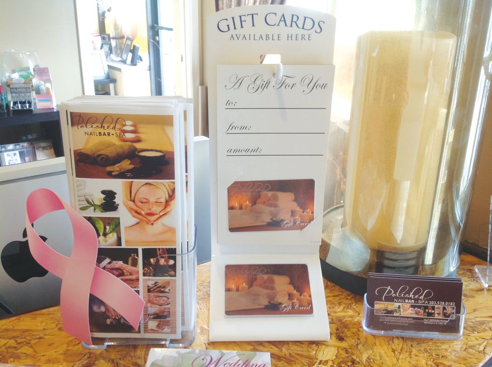 <p>Ami Couverthier<br />Polished NailBAR-Spa, Wolcott, Conn.<br />The designs on these gift cards convey Ami Couverthier&rsquo;s vision of giving the &ldquo;ultimate experience in luxury relaxation&rdquo; in a &ldquo;quiet, peaceful environment.&rdquo; They definitely show what this spa has to offer and make clients want to redeem them for fabulous services. The stand is an excellent addition that makes the cards easy to grab as you go.</p>
