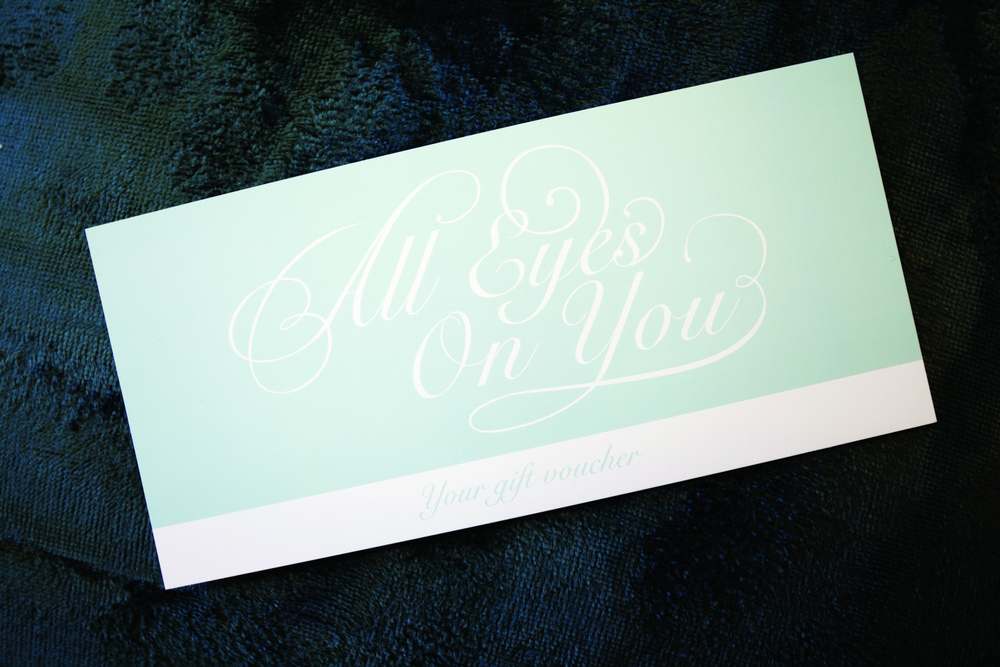 <p>Kaite Miles<br />All Eyes On Your Beauty Salon, Cheadle, Stockport, U.K.<br />Elegance is key at All Eyes On You. The gift vouchers and bag mirror the salon&rsquo;s classic elegance and light blue color scheme.<br /><br /></p>