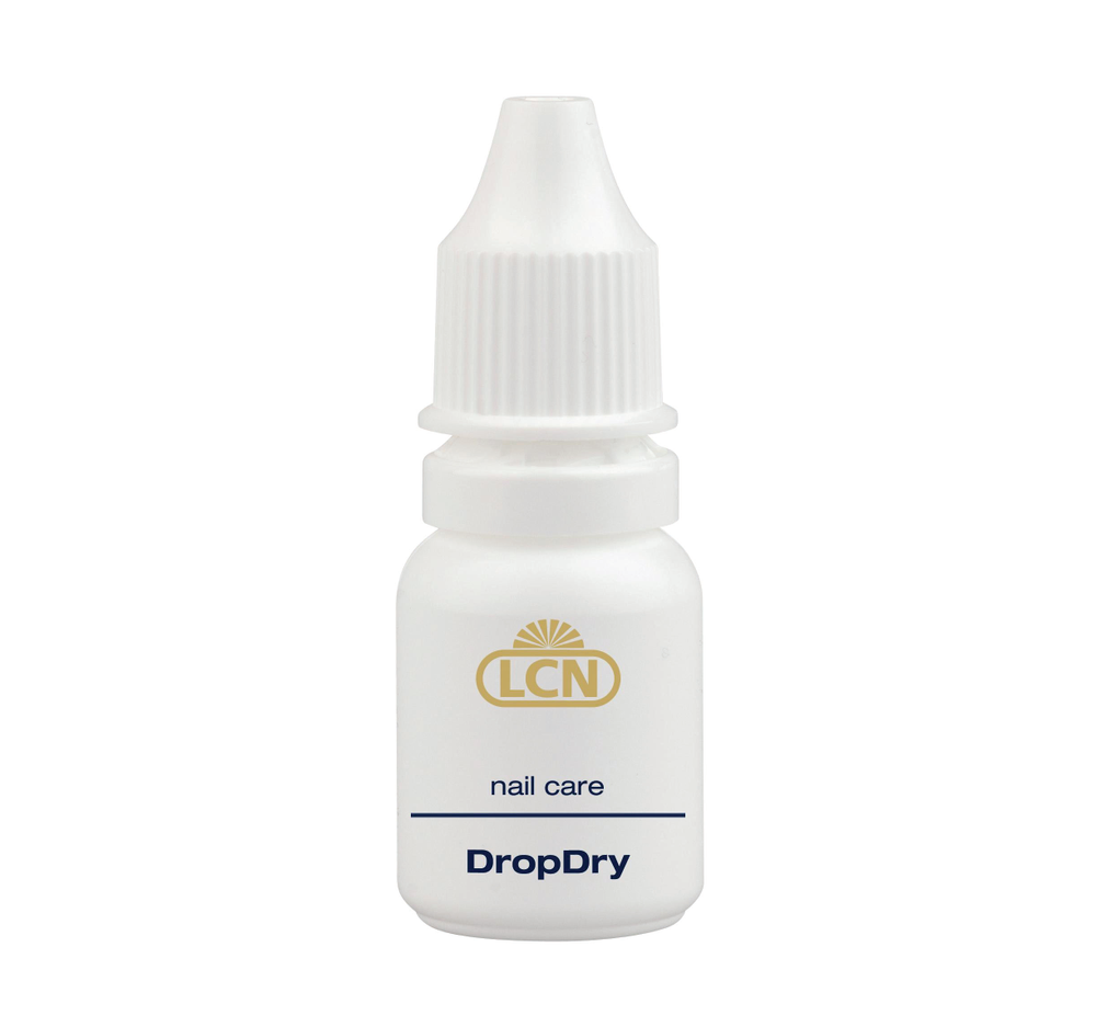 """<p>With <a href=""""http://www.lcnusa.com/"""">LCN</a>&rsquo;s DropDry, containing vitamin E and inchi oil, &shy;polish is sealed and cuticles are nourished. Wait 60 seconds after fresh polish is &shy;applied, and then put one or two drops of DropDry on the nail. Only 90 seconds later, the nail polish is smear-proof and after five minutes, the polish is thoroughly dry.</p>"""