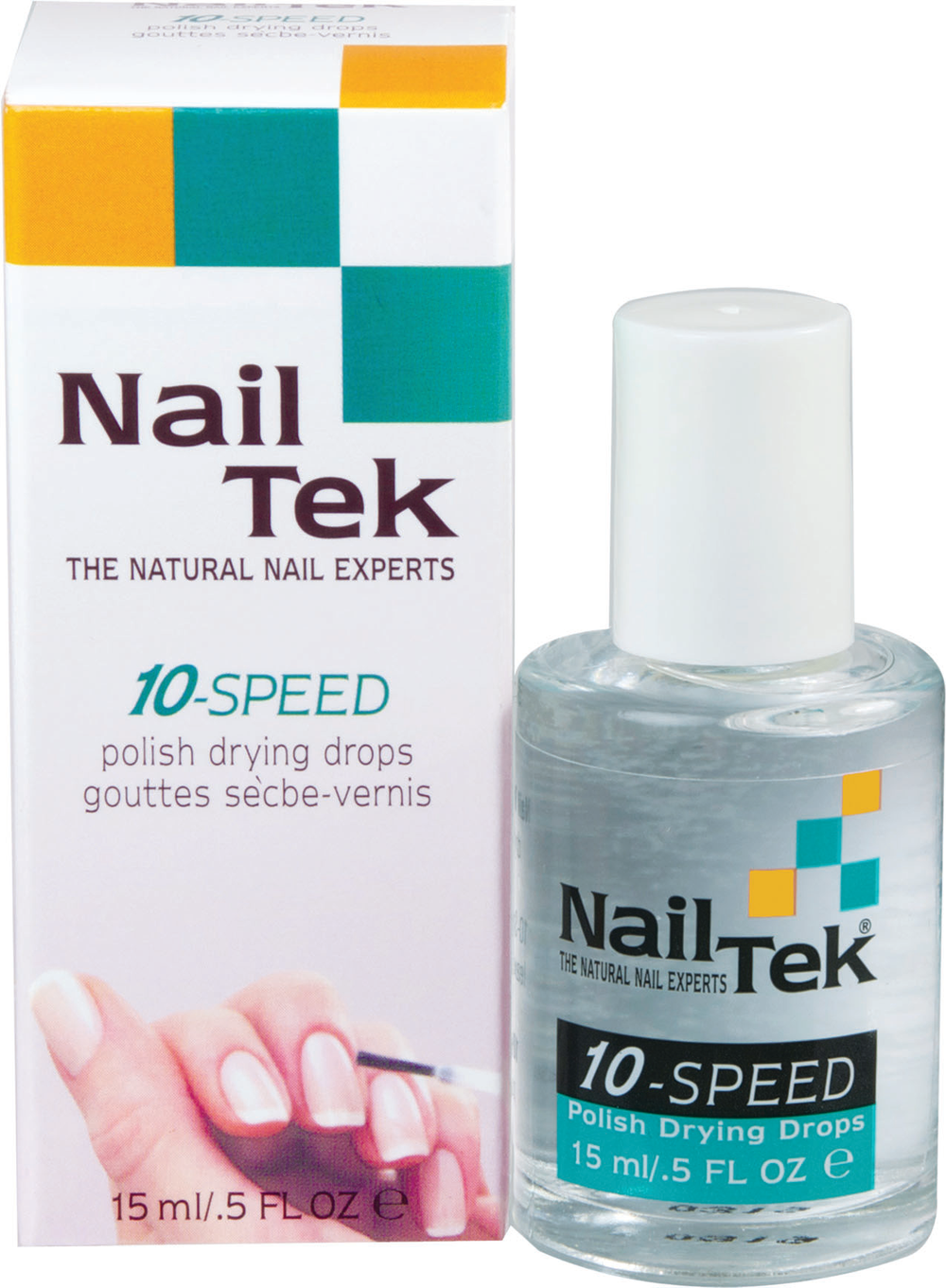 """<p><a href=""""http://www.nailtek.com/"""">Nail Tek</a> 10-Speed Polish Drying Drops are a fast, effective way to dry polished nails to a smooth, shiny finish. To use, apply one or two drops over a fresh manicure. After about one minute, the nails will be dry to the touch and then completely smudge-proof in another five to seven.</p>"""