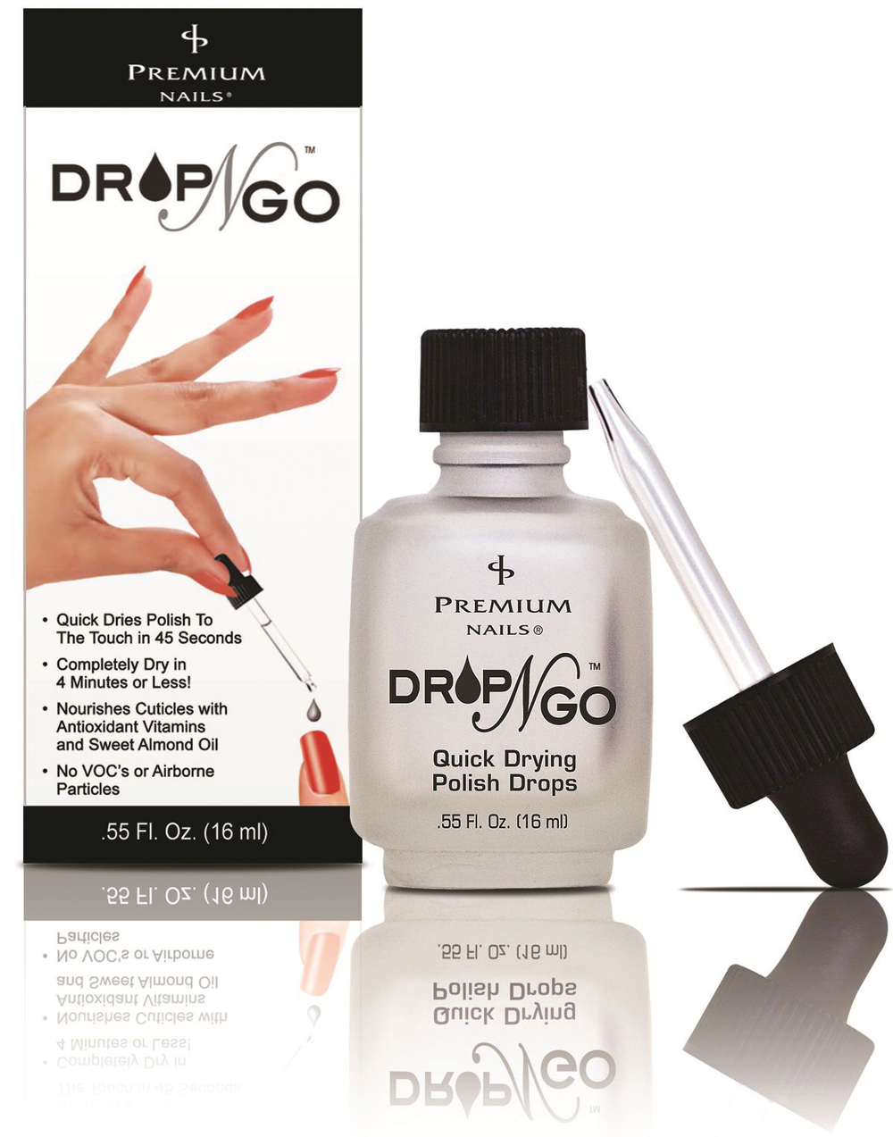 """<p>Drop-N-Go by <a href=""""http://www.premiumnails.com/"""">Premium Nails</a> quickly dries polish to the touch in 45 seconds, and more thoroughly in four minutes or less. Cuticles are nourished with antioxidants, vitamins, and sweet almond oil. The product releases zero VOCs or airborne particles.</p>"""