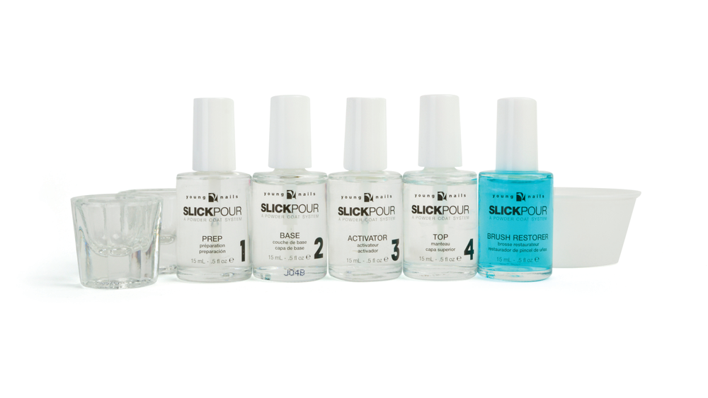 "<p>Young Nails SlickPour features a clean and speedy application<br />that makes powder nail enhancements easier than ever. The starter kit includes Prep, Base, Activator, Top, Brush Restorer, double-sided pouring spoon, glass dampen dishes, and catch-all<br />cups. Powders are available in 30 shades.<br /><a href=""http://www.youngnails.com"">www.youngnails.com</a></p>"