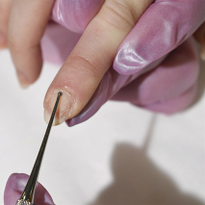 The curette is a great tool to use when prepping nails.
