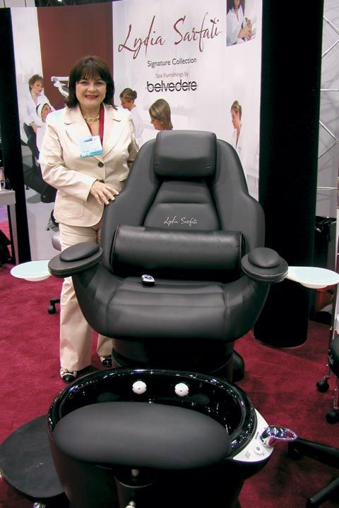 <p>Furnishings company Belvedere partnered with Lydia Sarfati (shown) to create a stylish and practical new line of products, including this 3-in-1 manicure, pedicure, and facial chair.</p>