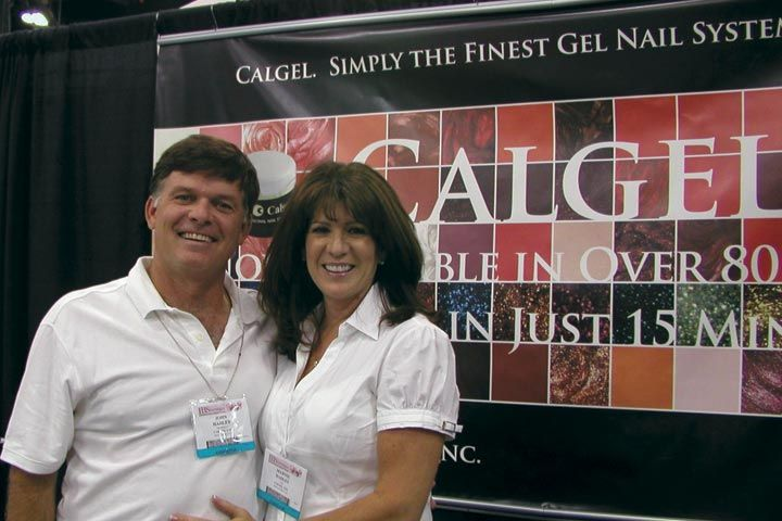 <p>Husband and wife duo John Hadley (president) and Marnie Hadley (CEO) work the CalGel booth.</p>