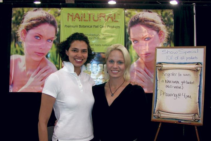 <p>Sales representative Natasha Pupuy (left) and founder Sandra Ossmann were representing their new company, Nailtural, which focuses on botanical nail care products.</p>