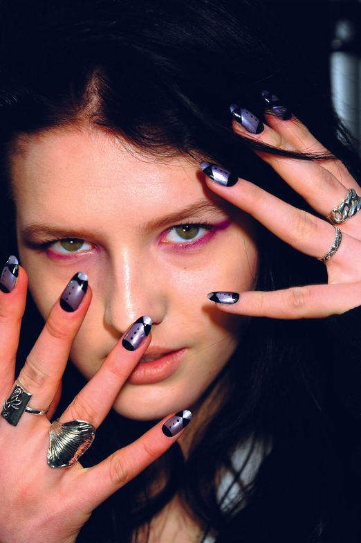 <p>Kristina Estabrooks created luxe tuxedo manicures fit for a black-tie runway for designer Ruffian. She used <strong>CND&rsquo;s </strong>Asphalt as a base, topped with Ice Blue Shimmer, Violet Shimmer detailed with Blackjack, and Super Shiney for the finish.<em>Photography courtesy of Creative Nail Design</em></p>