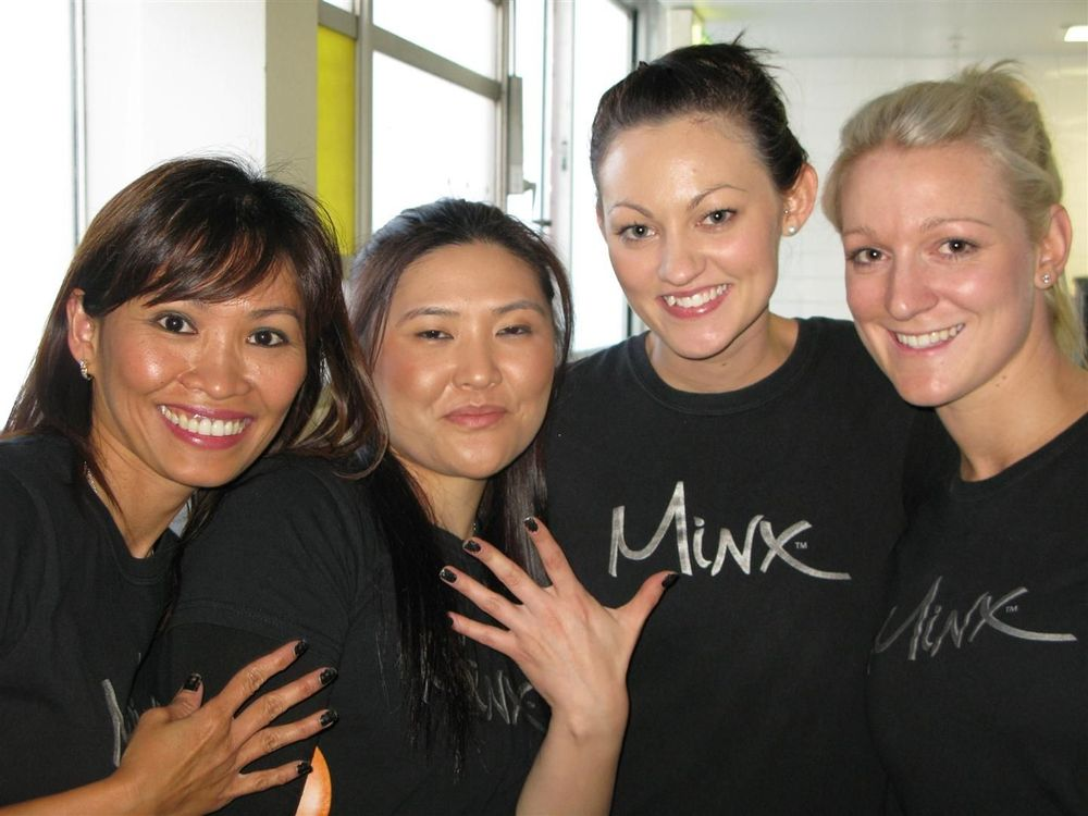 <p>The SwitchFunky nail stylist team backstage at the Lisa Maree summer 2011 show in Australia from left to right: Jocelyn Street, Margareta Nasyully, Michelle Hunt, and Breeana Martin. The stylists are wearing <strong>Minx&rsquo;s </strong>Tease Me Black and Silver. <em>Photography by Tabitha Jones</em></p>
