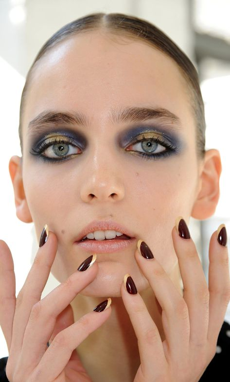<p>Jason Wu had nail stylist Roxanne Valinoti create baroque gilded burgundy manicures with <strong>CND </strong>using Dark Ruby layered with Bloodline, and gilded with Gold Chrome smile lines. <em>Photography courtesy of Creative Nail Design</em></p>