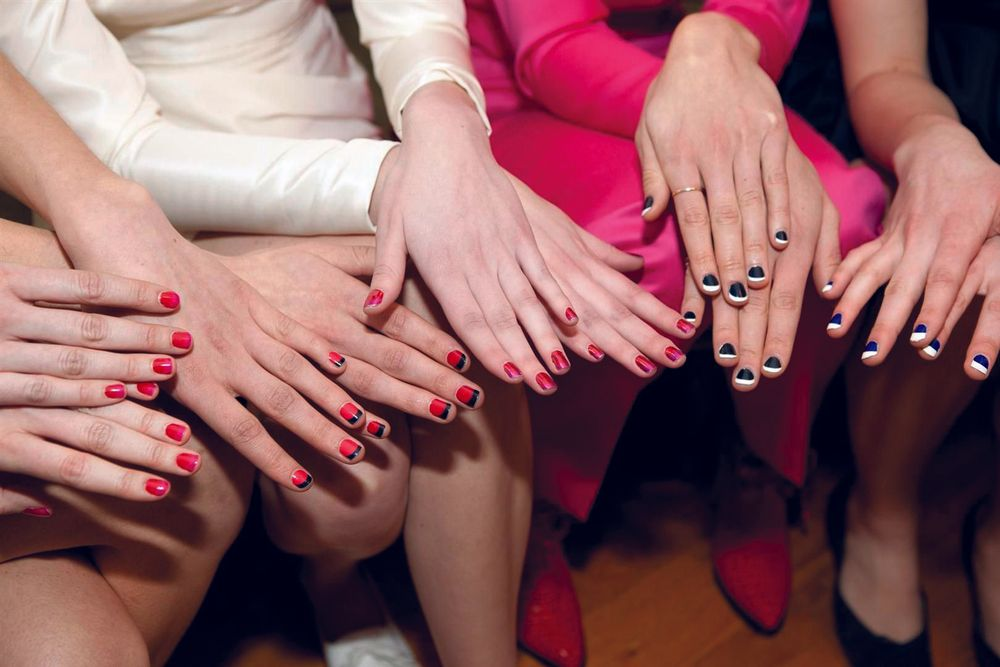 <p>Nail stylist Lisa Logan created several two-toned <strong>Minx </strong>fashions to complement designs in Katie Ermilio&rsquo;s fall collection. Photography by Lisa Logan</p>
