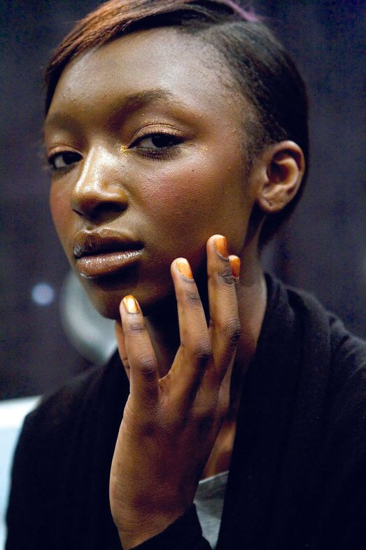 <p>Tracy Reese&rsquo;s models wore Complete Salon Manicure from <strong>Sally Hansen</strong> in Shiny Penny, a rich bronze (shown), and Oxide, a gunmetal gray.</p>