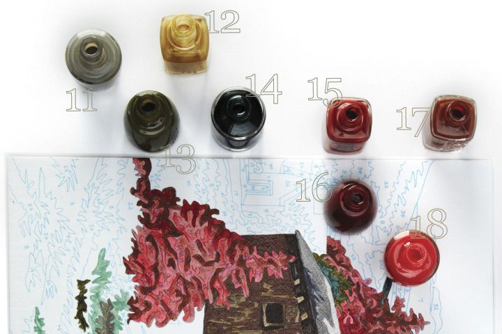 <p><strong>11. OPI </strong>Suzi Takes the Wheel<strong> 12. LeChat</strong> Rocker Chic <strong>13. China Glaze</strong> Westside Warrior <strong>14. Jessica</strong> Vampy Vixen <strong>15. Nailite </strong>Tawny <strong>16. Nubar</strong> Beguiling Carmine <strong>17. Essie</strong> Very Structured <strong>18. OPI</strong> I Eat Mainely Lobster</p>