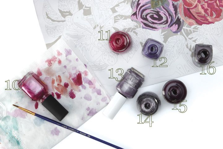 <p><strong>10. LeChat </strong>Hey Girl! <strong>11. China Glaze</strong> Traffic Jam <strong>12. Diamond </strong>Plum-Crazy for You <strong>13. Duri </strong>Grape Swirl <strong>14. China Glaze</strong> CG in the City <strong>15. OPI </strong>Honk If You Love OPI <strong>16. CND </strong>Dark Amethyst</p>