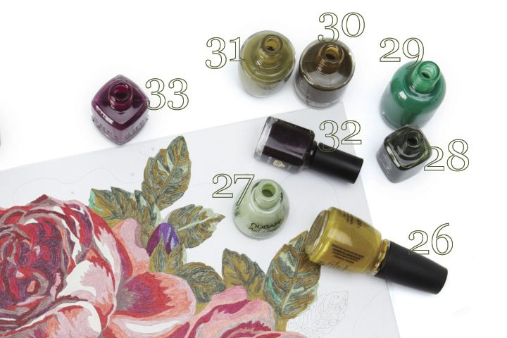 <p><strong>26. China Glaze</strong> Trendsetter <strong>27. Nubar</strong> Vogue Vert <strong>28. LCN </strong>Mysterious Green <strong>29. Orly </strong>Lucky Duck <strong>30. Jessica </strong>Showstopper<strong> 31. OPI</strong> Uh-Oh Roll Down the Window <strong>32. LCN </strong>XOXO <strong>33. Duri</strong> Dragontini</p>
