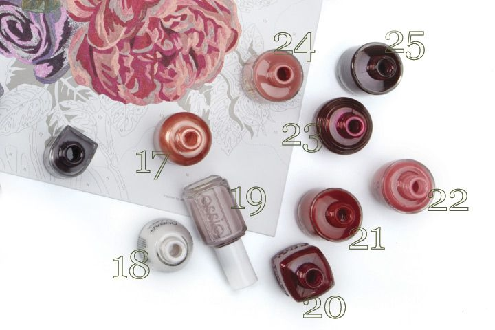 <p><strong>17. Orly </strong>Peachy Parrot <strong>18. Nubar </strong>Faded Putty <strong>19. Essie </strong>Lady Like <strong>20. Duri</strong> Pinot Noir <strong>21. MK</strong> Red Nose Reindeer <strong>22. OPI</strong> My Address Is &ldquo;Hollywood&rdquo; <strong>23. SpaRitual </strong>Spirit Child <strong>24. LCN</strong> By the Dozen <strong>25. Jessica </strong>Street Swagger</p>