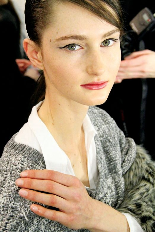"""<p class=""""TDP"""">At the BCBG Max Azria show models&rsquo; nails were painted with <strong>OPI</strong> Passion for a nude look that complemented the neutral color blocking with pops of color in the clothes. <em>Photo courtesy of OPI</em></p>"""