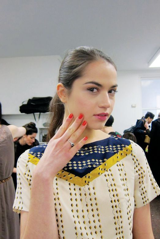 <p>Lauren Moffatt&rsquo;s show featured the bright orange hue <strong>OPI</strong> A Good Man-darin Is Hard to Find on the models&rsquo; nails, which were shaped short and squoval. <em>Photo courtesy of OPI</em></p>