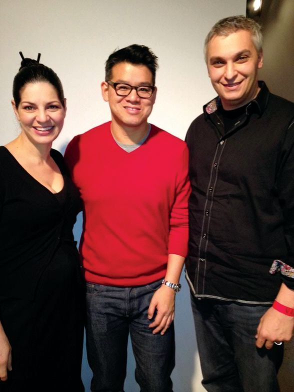 """<p class=""""TDP""""><strong>Zoya</strong> custom color expert Rebecca Isa (left) developed custom colors for Peter Som (center; also shown is Zoya&rsquo;s Leo Reyzis). The colors were named after Som&rsquo;s muses: Audrey, pale pink showcased on models&rsquo; fingers; Evvie, a slate green featured on toes; and Katherine, plum nail gloss not used on the models, and polished by lead manicurist Sunshine Outing and her team.</p>"""