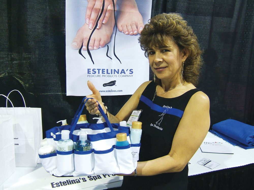 <p>Estelina, president of Estelina&rsquo;s Spa Products, shows off her convenient carrying kit of pedicure products. Each product is a step with corresponding number on the pouch so a nail tech can easily apply a thorough deluxe spa pedicure on the go.</p>