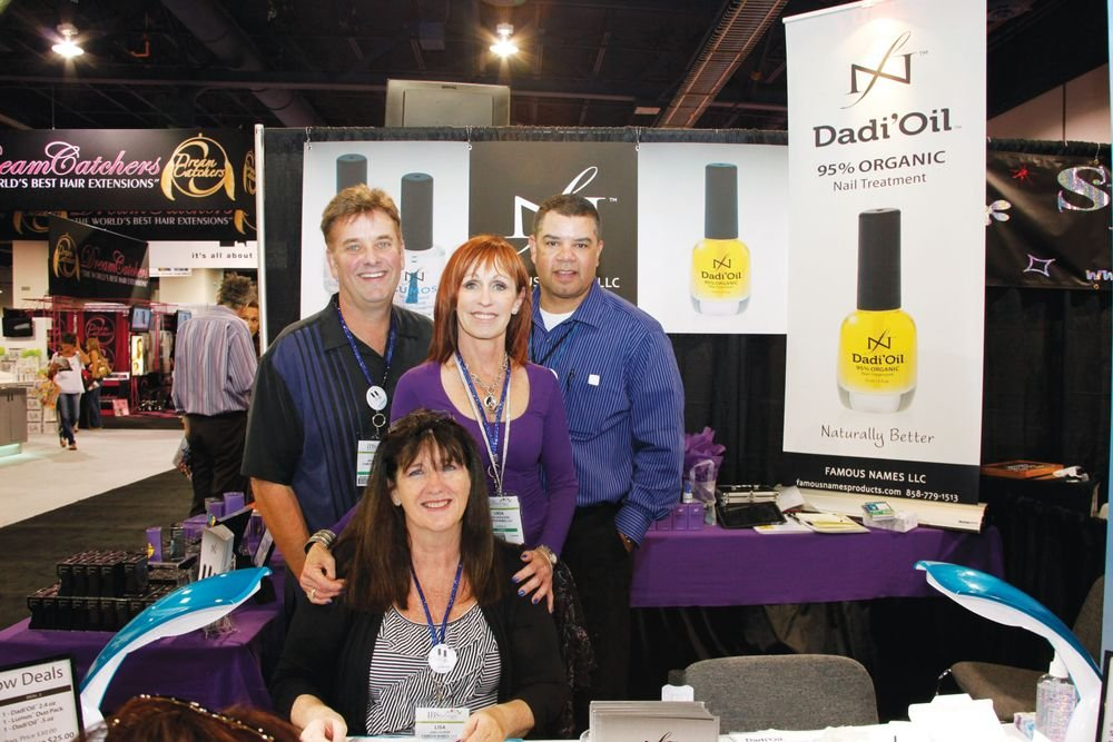 <p>Famous Names owners Jim and Linda Nordstrom, Ken Cooper, and educator Lisa Cooper (front) promoted their Dadi&rsquo;Oil 95% organic cuticle nail treatment.</p>