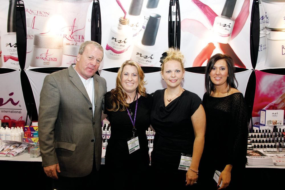 <p>NSI vice president of sales Stu Ludlow, Sarah Burel, Kristi Spencer, and Malinda Haggerty were eager to show off the latest colors of Polish Pro.</p>