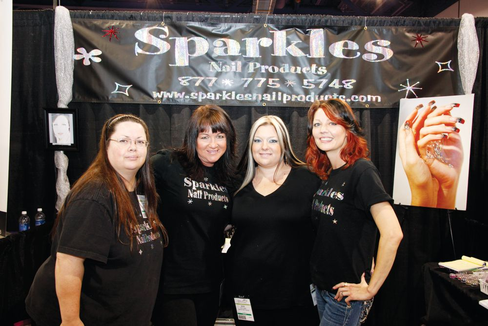 <p>Sparkles Nail Product educators Angela Jones, Shelly Hill, DeDe Albino, and Theresa Blackwood showed off some new glitter colors.</p>