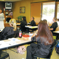 Color My Nails School of Nail Technology brings in guest speakers, such as this woman who is...