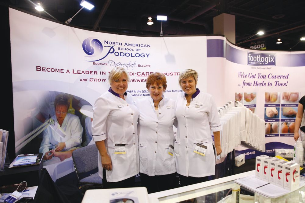 <p>The North American School of Podology&rsquo;s Marg Haden, Deb Bourque, and Vicki Malo promoted the school&rsquo;s Bachelor&rsquo;s of Science in Podology program.</p>