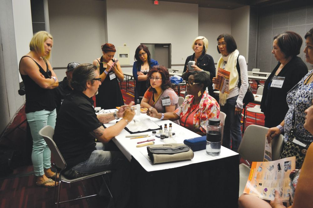 <p>E-file expert Rob Munkel educated nail techs on effective ways to use the tool when giving waterless pedicures and applying acrylics.</p>