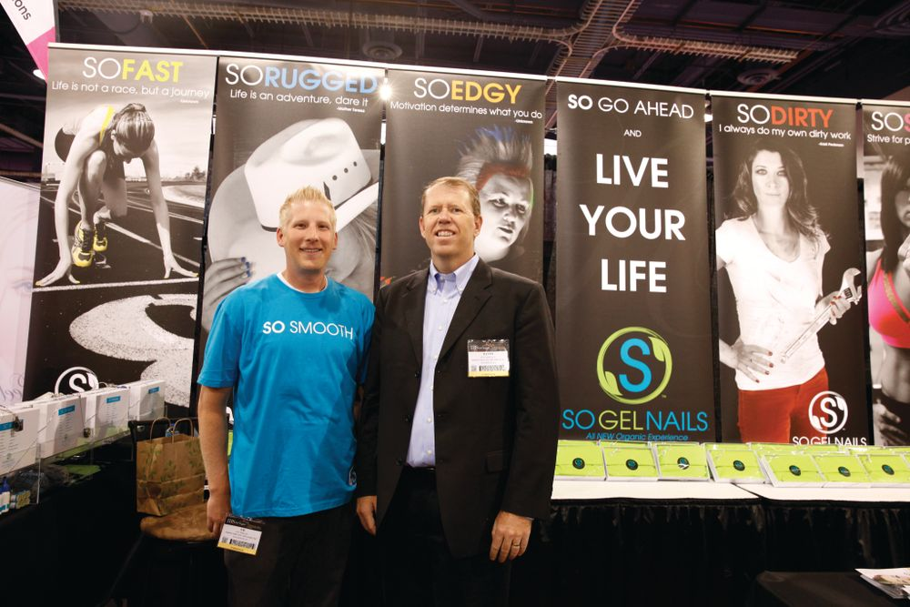 <p>So Gel Nails marketing director CR Thelin and CEO Dave Hall debuted the company&rsquo;s 400 color pigments and clear gel at the show.</p>